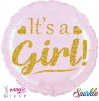 Balon ITS A GIRL zlat napis