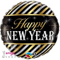 Balon folija Happy new year gold