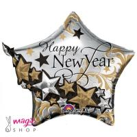Balon folija zvezda Happy new year 60 cm