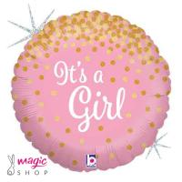 Balon IT'S A GIRL glitter 43 cm