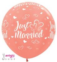 Jumbo balon Just married rose gold 70-90 cm